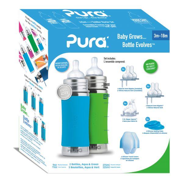 Pura Kiki Trinkflasche - Geschenkset - 2x 325ml Flaschen (inkl. 5x Zubehör)