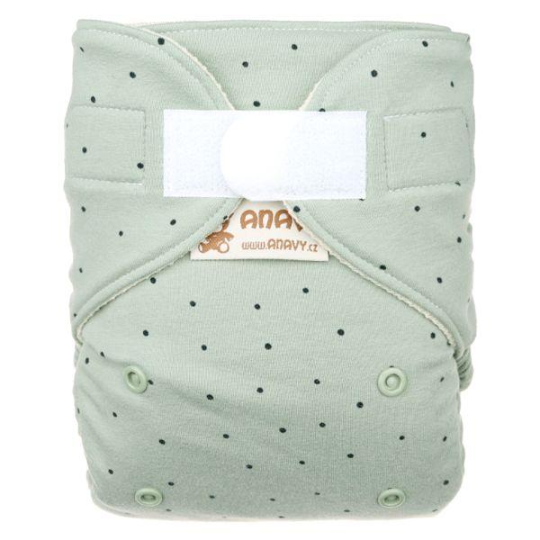 Anavy - Wollüberhose Gr.2 (6-16 kg) - Dots (Green) - Bio-Merinowolle (Kletter & Druckies)