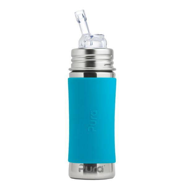 Pura Kiki Trinkflasche 325ml Strohhalm Aufsatz (inkl. Schutzkappe) Blau