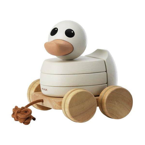 """Hevea - Ente """"Kawan"""" Nachziehtier und Stapelspielzeug aus Holz"""