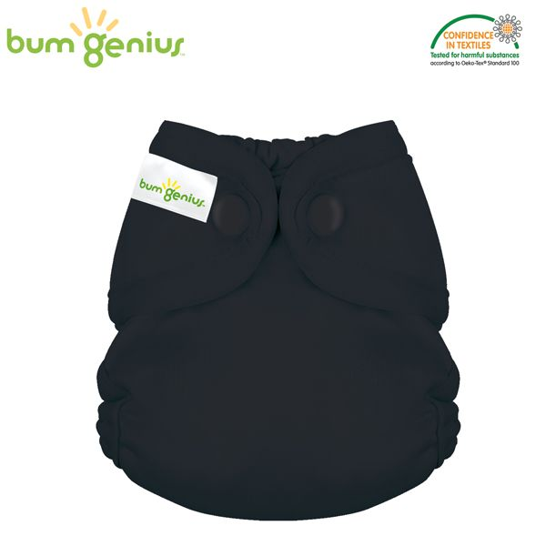 BumGenius - Littles 2.0 Newborn (2-6 kg) - Fearless (Schwarz)