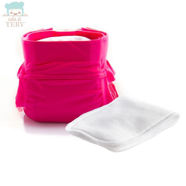 """Culla di Teby (AI3) - """"Soft Touch"""" Mikrofaser Schwimmwindel - (SET) - Pink (mit Rüschen)"""