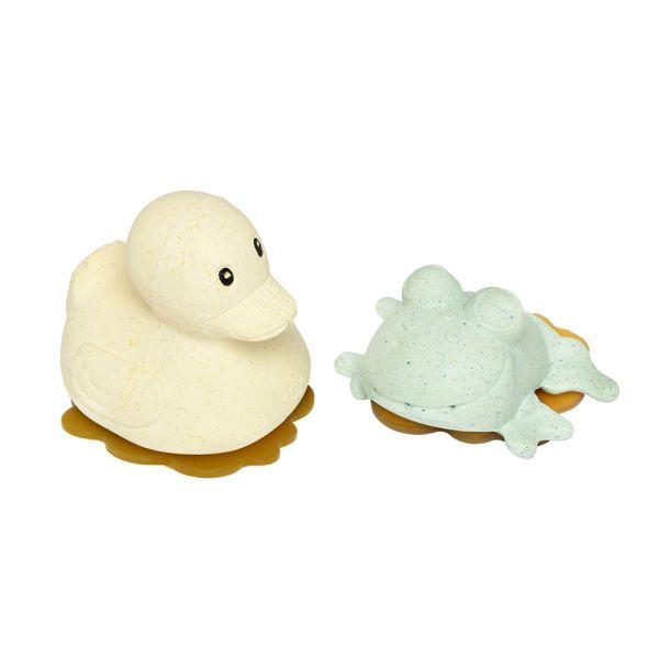 Hevea - Ente & Frosch (100% Upcycling-Naturkautschuk) - Baby-Geschenkset