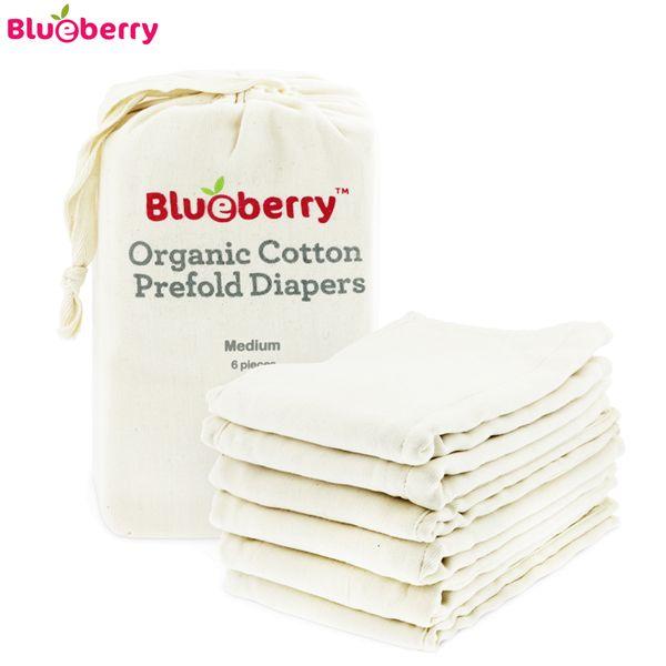 Blueberry Prefolds - 100% Bio-Baumwolle (6 Stück) - versch. Größen