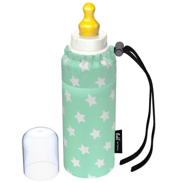 Emil - Babyflasche (250ml) - Komplettset - Sterne Mint (Bio-Baumwoll-Überzug)
