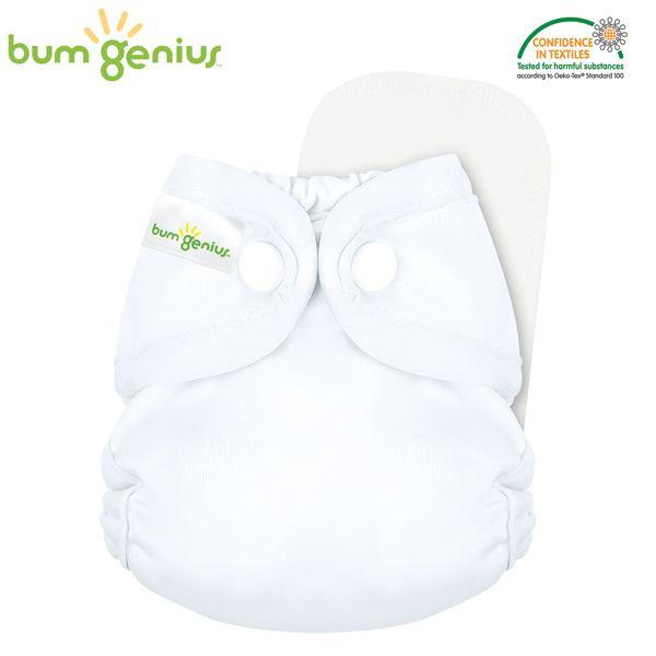 BumGenius - Littles 2.0 Newborn (2-6 kg) - Weiß