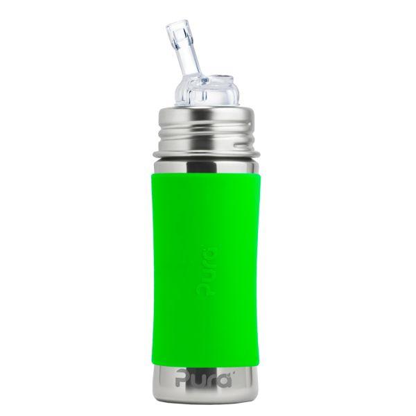 Pura Kiki Trinkflasche 325ml Strohhalm Aufsatz (inkl. Schutzkappe) Grün