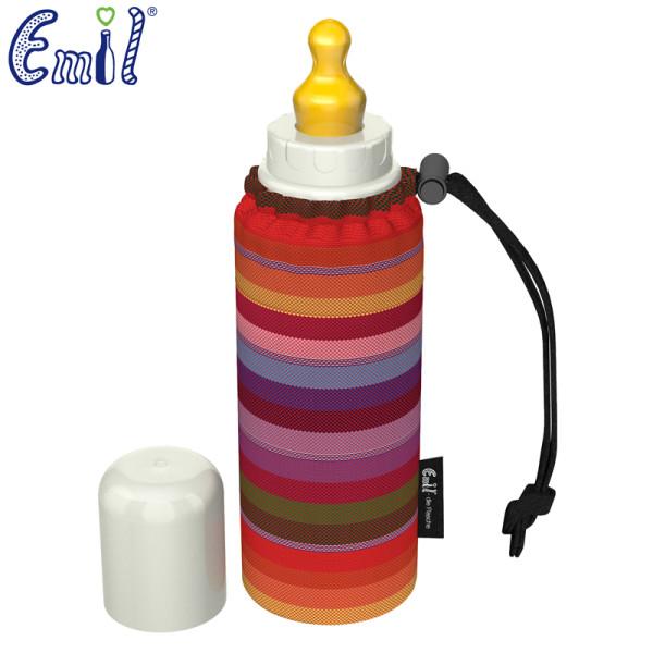 Emil - Babyflasche (250ml) - Set - Streifen (Bio-Baumwoll-Überzug)