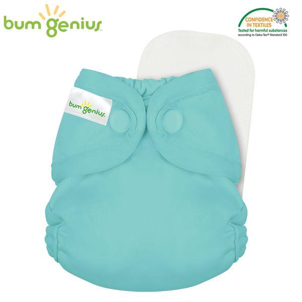 BumGenius - Littles 2.0 Newborn (2-6 kg) - Mirror (Türkis)