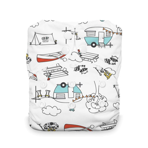 """Thirsties - """"Stay Dry"""" Natural AIO - One Size (4-18 kg) - Happy Camper"""