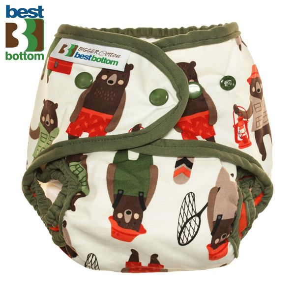 Best Bottom Diapers (Baumwolle) Überhosen - BIGGER/XL (Druckies) - Brawny Bears