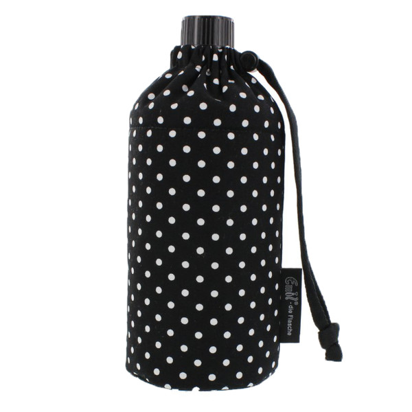 Emil die Flasche (600ml) - Komplettset (Bio-Baumwolle-Überzug) - Punkte Schwarz
