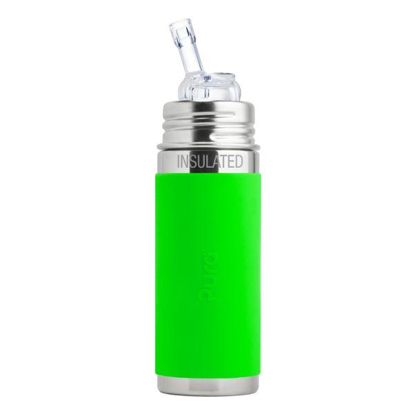 Pura Kiki ISO-Trinkflasche 260ml Strohhalm Aufsatz Grün