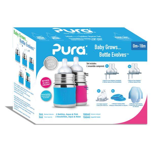 Pura Kiki Trinkflasche - Geschenkset - 2x 150ml Flaschen (inkl. 5x Zubehör)