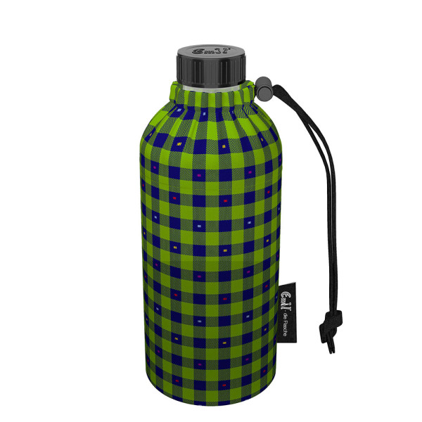 Emil die Flasche (400ml) - Komplettset (Bio-Baumwolle-Überzug) Weithals - Karo