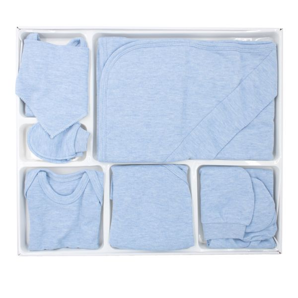 Bebelinna - 10-tlg. Baby-Erstausstattung (50-56) - Unifarben - einfarbig blau