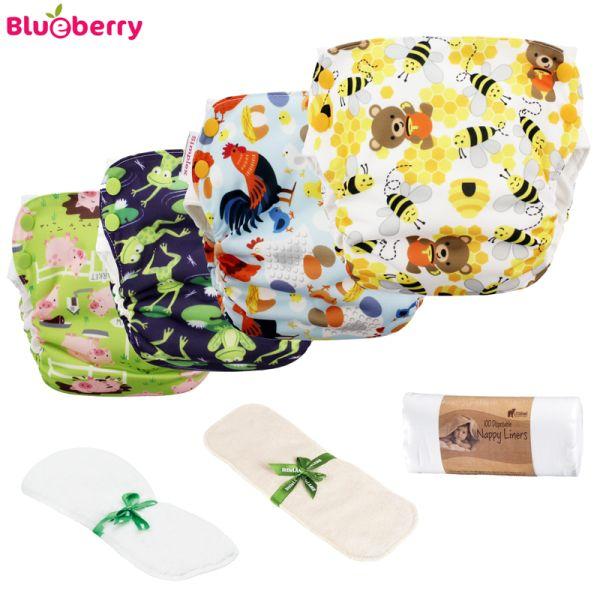 Blueberry - Simplex SideSnap - Bio-Baumwolle GOTS - Einsteigerpaket (4 Windeln & GRATIS Zubehör)