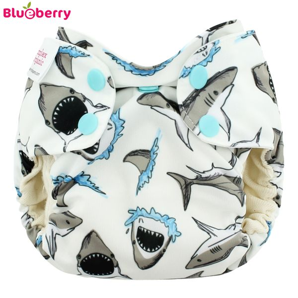 Blueberry Simplex Newborn (AIO) - White Sharks - (Bio-Baumwolle)