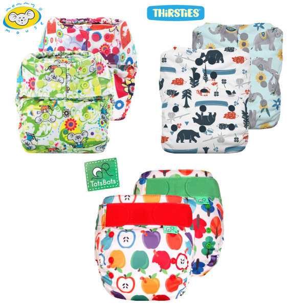 Mommy Mouse, Thirsties & TotsBots - Komplettwindel (AIO) - One Size - Mixed Paket