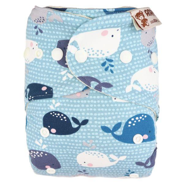 Anavy - Wollüberhose Gr.2 (6-16 kg) - Baby Whales (Jade) - Bio-Merinowolle (Kletter & Druckies)