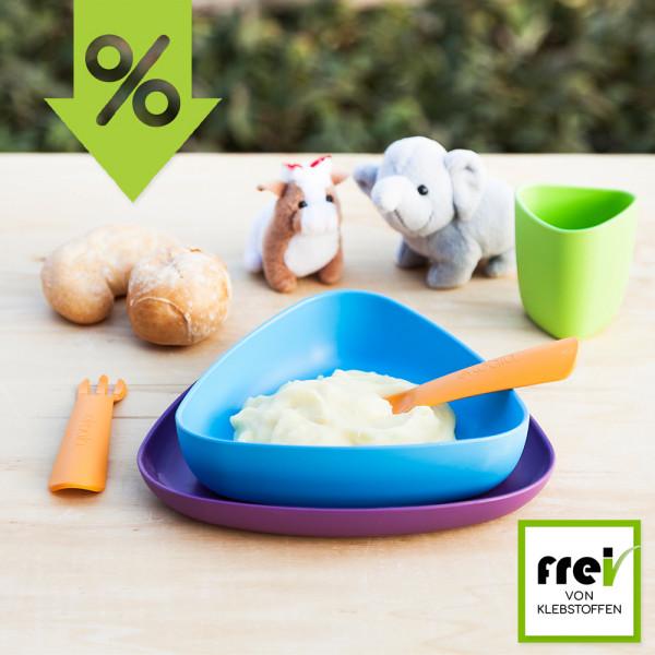 ekoala - eKeat - Esslernset (100% Bio-Kunststoff) - Teller, Tasse und Besteck - biologisch abbaubar