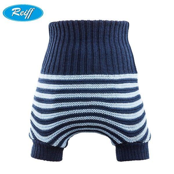 Reiff doppeltgestrickte Wollüberhose - Blau gestreift