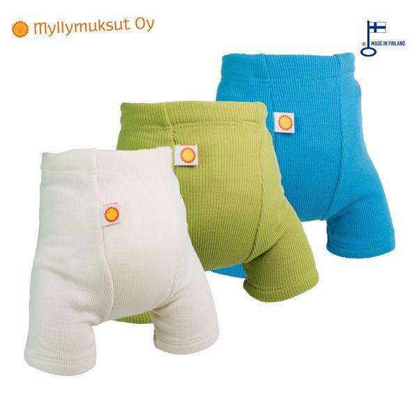 Myllymuksut - Wool Shortie (kurze Wollhose) - 100% Merinowolle - weiß & grün