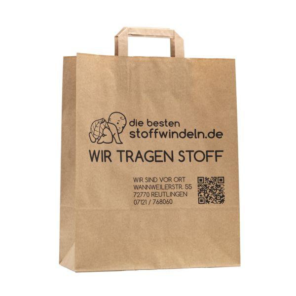 Tragetasche - Recycling Papier (Braun) mit Werbeaufdruck (je 10 Stück)