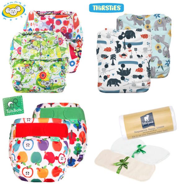 Mommy Mouse, Thirsties & TotsBots Komplettwindel (AIO) One Size Mixed Paket