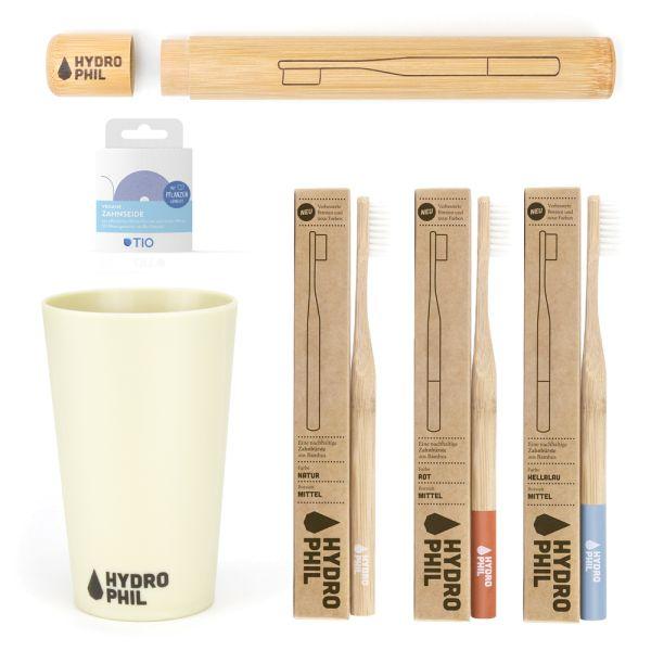 Hydrophil - Bambus-Zahnbürsten - nachhaltiges Zahnputz Set (6-teiliges Bundle + GRATIS Zubehör)