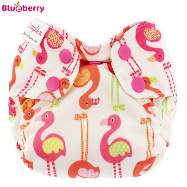 Blueberry Simplex Newborn (AIO) - Flamingo - (Bio-Baumwolle) Klettverschluss