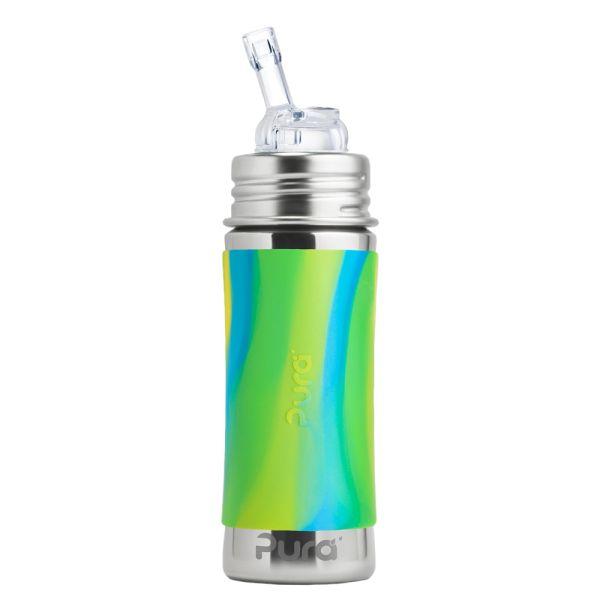 Pura Kiki Trinkflasche 325ml Strohhalm Aufsatz (inkl. Schutzkappe) Blue Swirls