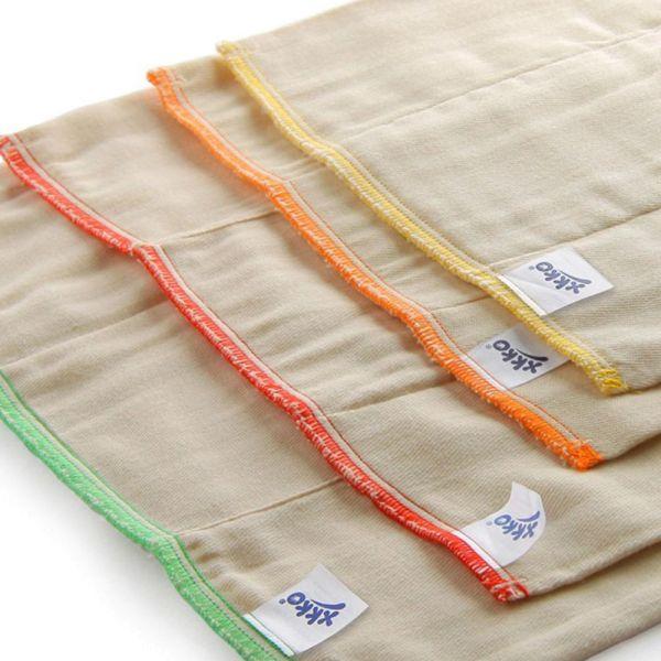XKKO - Prefolds - 100% Baumwolle - Natur (ungebleicht) - B-Ware - 10 Stück - versch. Größen
