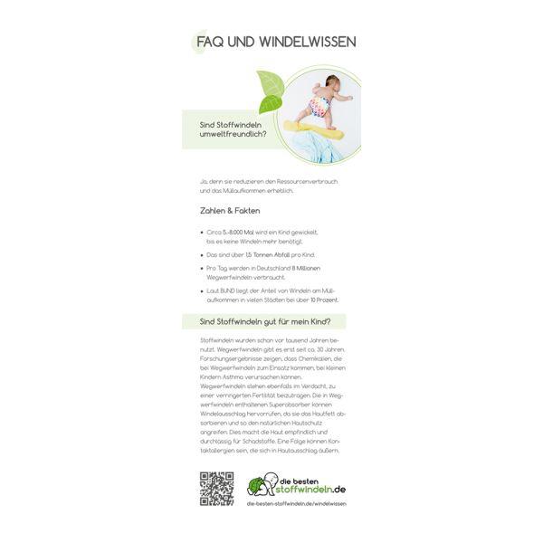 """Flyer - """"FAQ Stoffwindeln"""" - DIN A6 Lang (je 10 Stück)"""