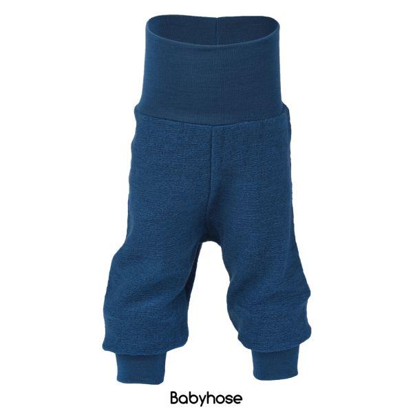 Engel - Lange Baby- & Kinder-Wollüberhose (100% Bio-Merino Wollfrottee) - Marineblau