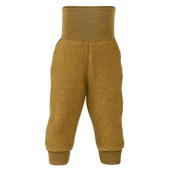 Engel - Lange Baby- & Kinder-Fleece-Wollüberhose (100% Schurwolle) - Safran