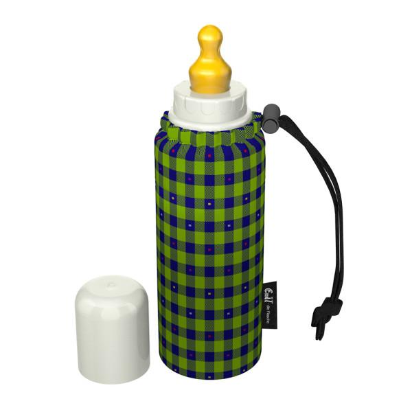 Emil - Babyflasche (250ml) - Set - Kariert (Bio-Baumwoll-Überzug)