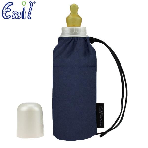 Emil - Babyflasche (250ml) - Set - Blau (Bio-Baumwoll-Überzug)