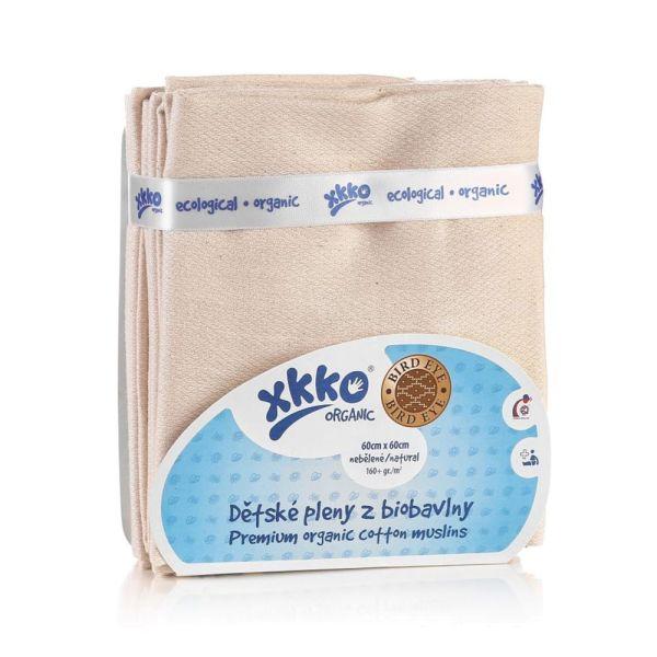 XKKO - Mullwindeln - 100% Bio-Baumwolle - Birds Eye - 60x60 cm - 5 Stück