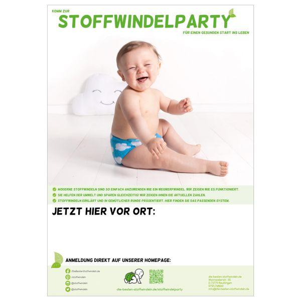 """Plakat - """"Stoffwindelparty"""" DINA4 - (je 5 Stück)"""