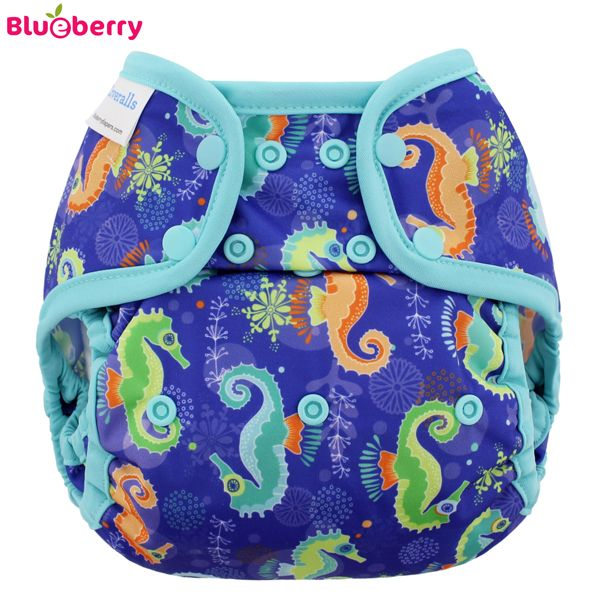 Blueberry - Capri 2.0 Überhose (Prefold) - Seahorses