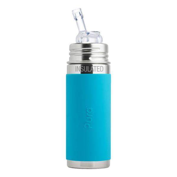Pura Kiki ISO-Trinkflasche 260ml Strohhalm Aufsatz Blau
