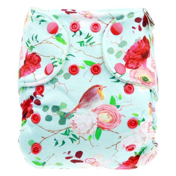 Anavy - Wollüberhose Gr.1 (3-7 kg) - Pink Garden - aus Bio-Merinowolle (Kletter & Druckies)