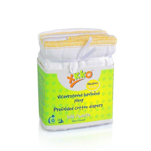 XKKO Prefolds 100% Baumwolle 6 Stück Weiß Newborn