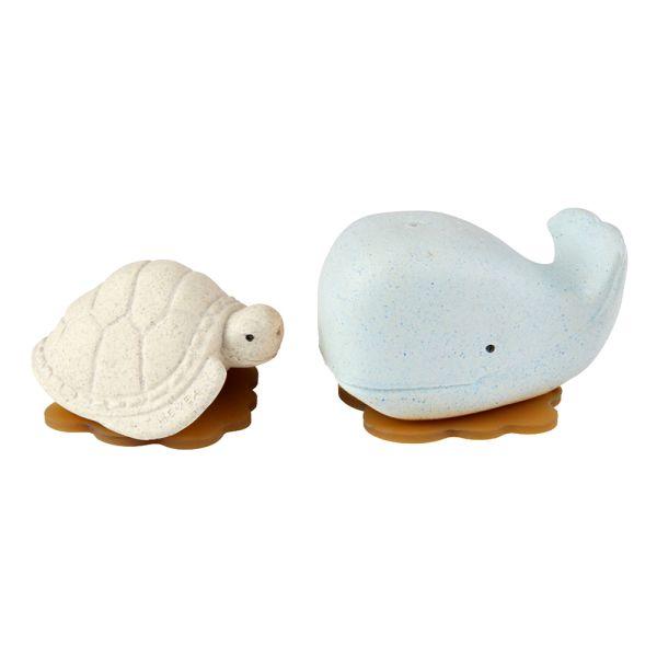 Hevea - Wal & Schildkröte (100% Upcycling-Naturkautschuk) - Geschenkset, Wasserspielzeug