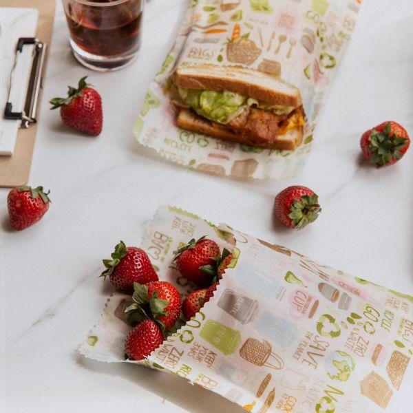 Nuts - praktische Sandwich & Snack Bags (100% natürliches Bienenwachs) - 2 Stück