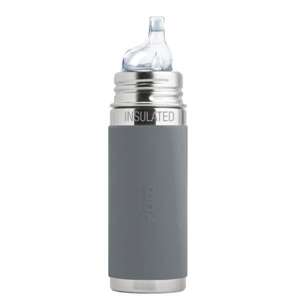 Pura Kiki ISO-Flasche 250ml XL Trinklernaufsatz Grau
