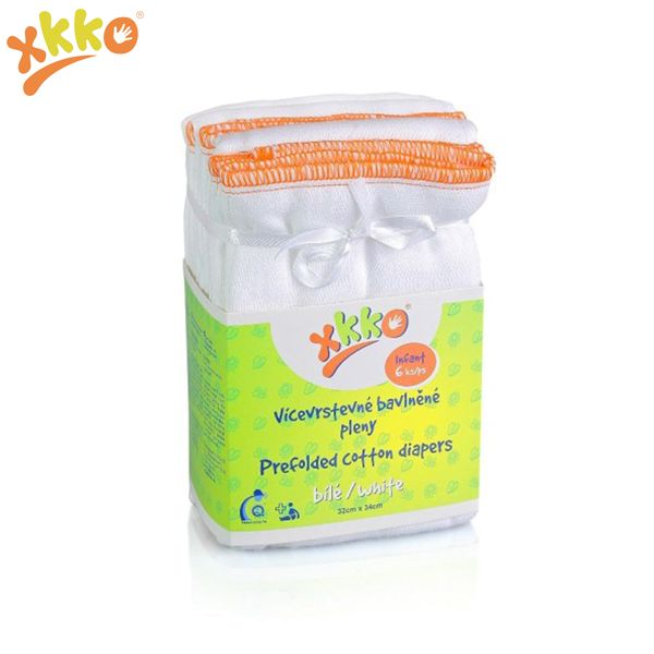 XKKO - Prefolds - 100% Baumwolle - 6 Stück - versch. Größen