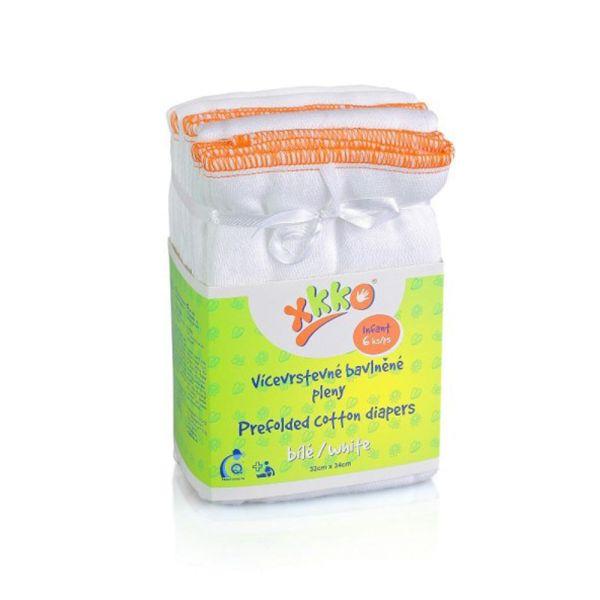 XKKO Prefolds 100% Baumwolle 6 Stück Weiß Small