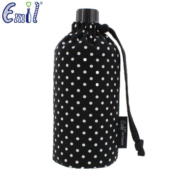 Emil die Flasche (400ml) - Komplettset (Bio-Baumwolle-Überzug) - Punkte Schwarz